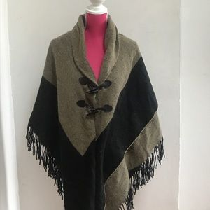 Sweater knit Cape with Fringe